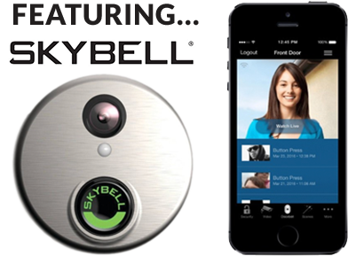 Featuring Skybell® with picture of app and security camera
